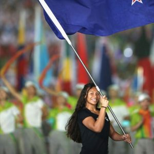 Gabrielle Fa'amausili carries the New Zealand flag at the Youth Olympics in China this year