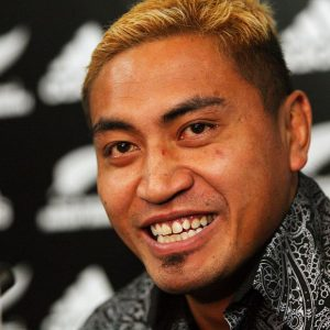 Jerry Collins announcing his retirement from first-class rugby in New Zealand (May 2008). Photo: www.photosport.co.nz