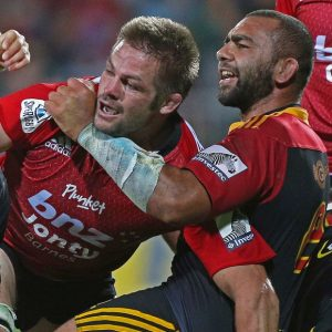 Michael Leitch gets to grips with Super Rugby - and Richie McCaw. Photo: www.photosport.co.nz