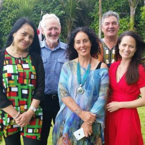 Some of the e-T whānau, whose work is in e-Tangata's new book. From left, Tapu Misa, Gary Wilson, Moana Maniapoto, Dale Husband and Nadine Millar.