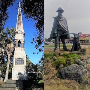 Nixon Memorial (left; photo Vincent O'Malley), & Fielding sculpture (photo, Joanna Kidman)