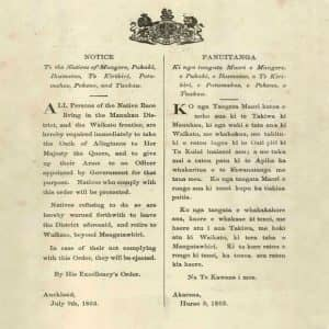 Many Māori understood the ultimatum of 9 July 1863, which required them to swear an oath of allegiance to the Crown, as demanding that they either fight for the Crown against their own relatives or leave the area between Auckland and Waikato. Nearly all chose the latter option. (Archives New Zealand, Te Rua Mahara o te Kāwanatanga, MA1 Box 835/1863/186)