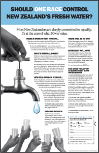 """Should ONE RACE Control New Zealand's Fresh Water?"" - advertisement from the New Zealand Centre for Political Research"