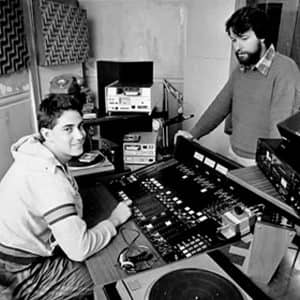 Piripi Walker (right) and Tama Te Huki in the Te Upoko o Te Ika studio on its first day of broadcast in 1987.