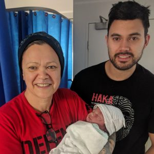 Paora with her son Chad and her newly arrived first moko, Luca Tipoki Moyle.