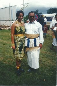 Simone and her dad, Tavake, at the Auckland Polynesian Festival, 1995.