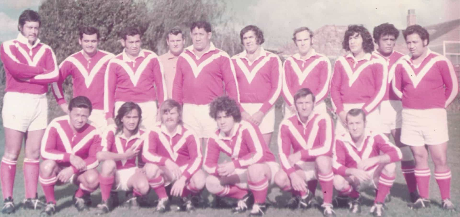The Maritime rugby league club, the watersides' team. Dilworth is on the far left, standing.