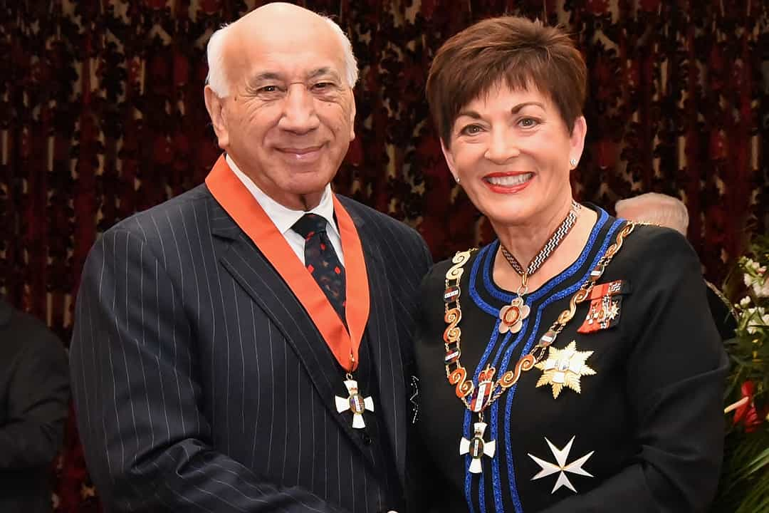 Timoti Karetu, after his investiture as KNZM, for services to the Māori language, by the governor-general, Dame Patsy Reddy, on 29 August 2017