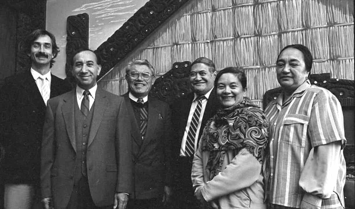 The inaugural Māori Language Commissioners, from left to right: Ray Harlow, Timoti Karetu, Kingi Ihaka, Koro Wetere, Katerina Te Heikoko Mataira and Anita Moke. (1987)
