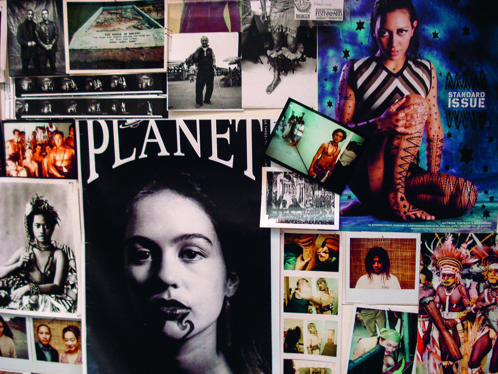 A detail from Rosanna Raymond's 2006 work Eyeland Part 3: Welkome 2 Da Klub featured on the cover of Planet's first issue. These casting photographs, the Standard Issue advertisement, historical images and various images from fashion shows were photographed by Rosanna Raymond.