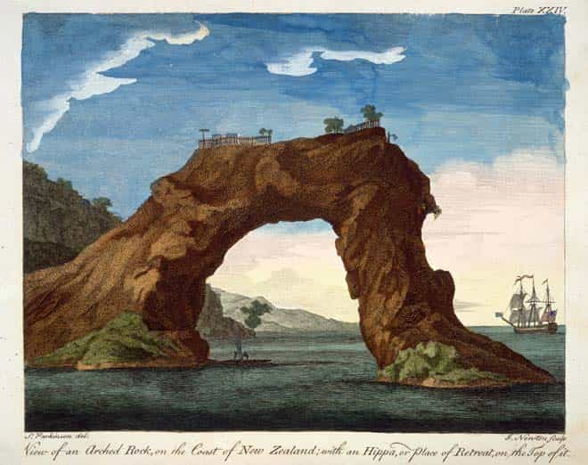 This hand-coloured engraving was made by Sydney Parkinson, the artist on board Captain James Cook's Endeavour in 1769. It shows a fortified pā on top of an arched rock at Mercury Bay, on the Coromandel's east coast. This structure has since collapsed. (Alexander Turnbull Library Reference: PUBL-0037-24 Hand-coloured engraving by Sydney Parkinson)