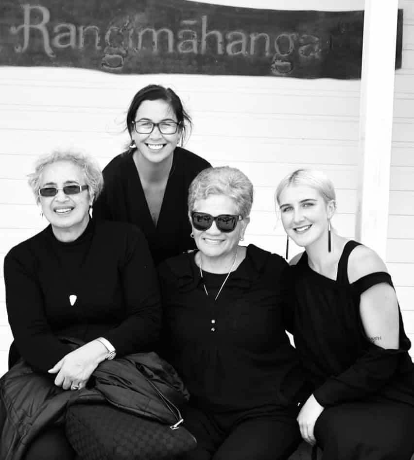 From left to right: Te Ripowai Higgins, Rawinia, Turuhira Hare (aunty – daughter of Nanny Uru), Kuratapirirangi Higgins outside the wharekai Rangimahanga, Tauarau marae, Ruatoki. Photo: Angeline Harawira