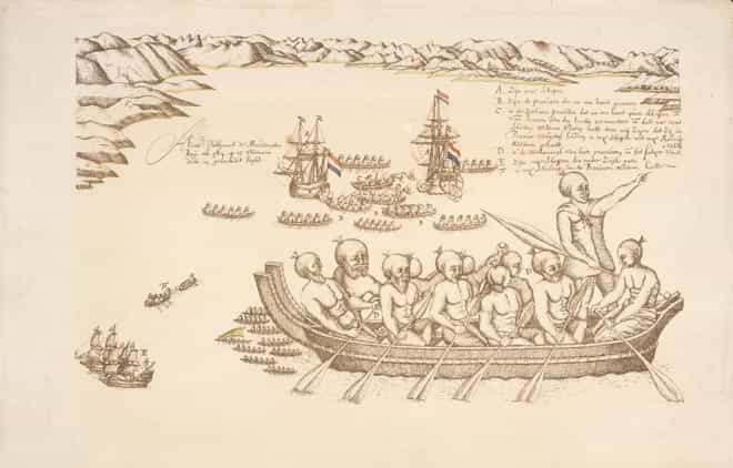 Alexander Turnbull Library<br /> Reference: PUBL-0086-021<br /> Photolithograph after a drawing by Isaac Gilsemans<br /> Tasman image: The first encounter between Māori and Europeans took place in December 1642 at what is now called Golden Bay. Tasman named it Murderers Bay after a violent encounter with Māori. As Māori approached the Dutch ships in canoes, one canoe rammed a ship's boat that was passing between Tasman's two vessels, killing four Dutchmen. One Māori was hit by a shot from Tasman's men in response to the attack. The event was sketched by Isaac Gilsemans, who sailed with Tasman.