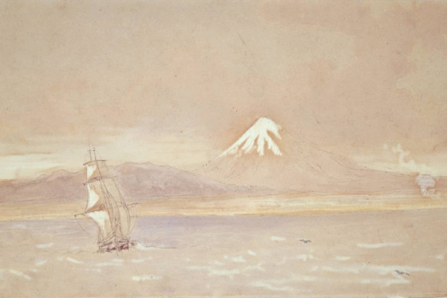 Arrival of The William Bryan by Edwin Harris -Puke Ariki collection