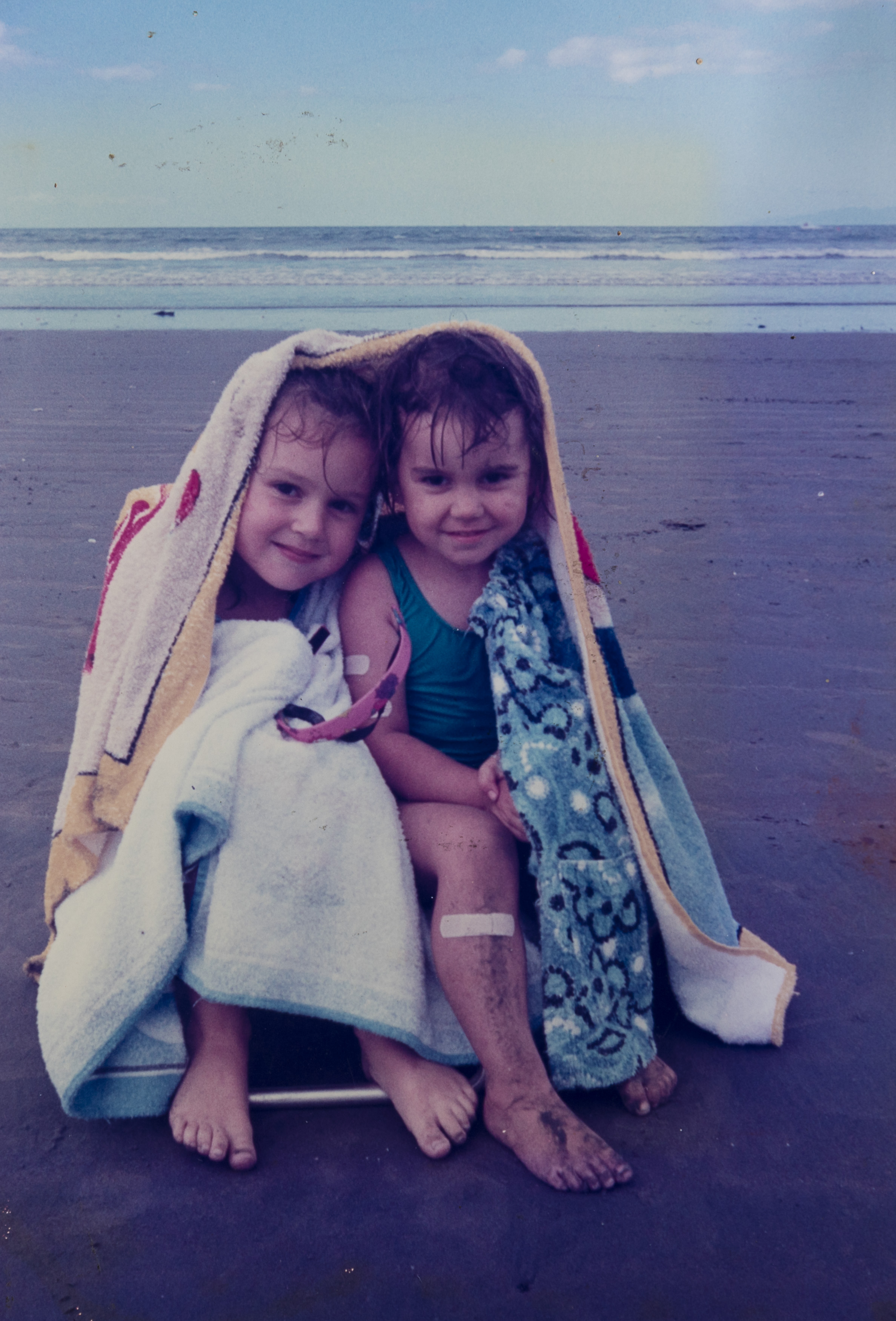 Debra Hunt and her sister Rachel at Orewa Beach.