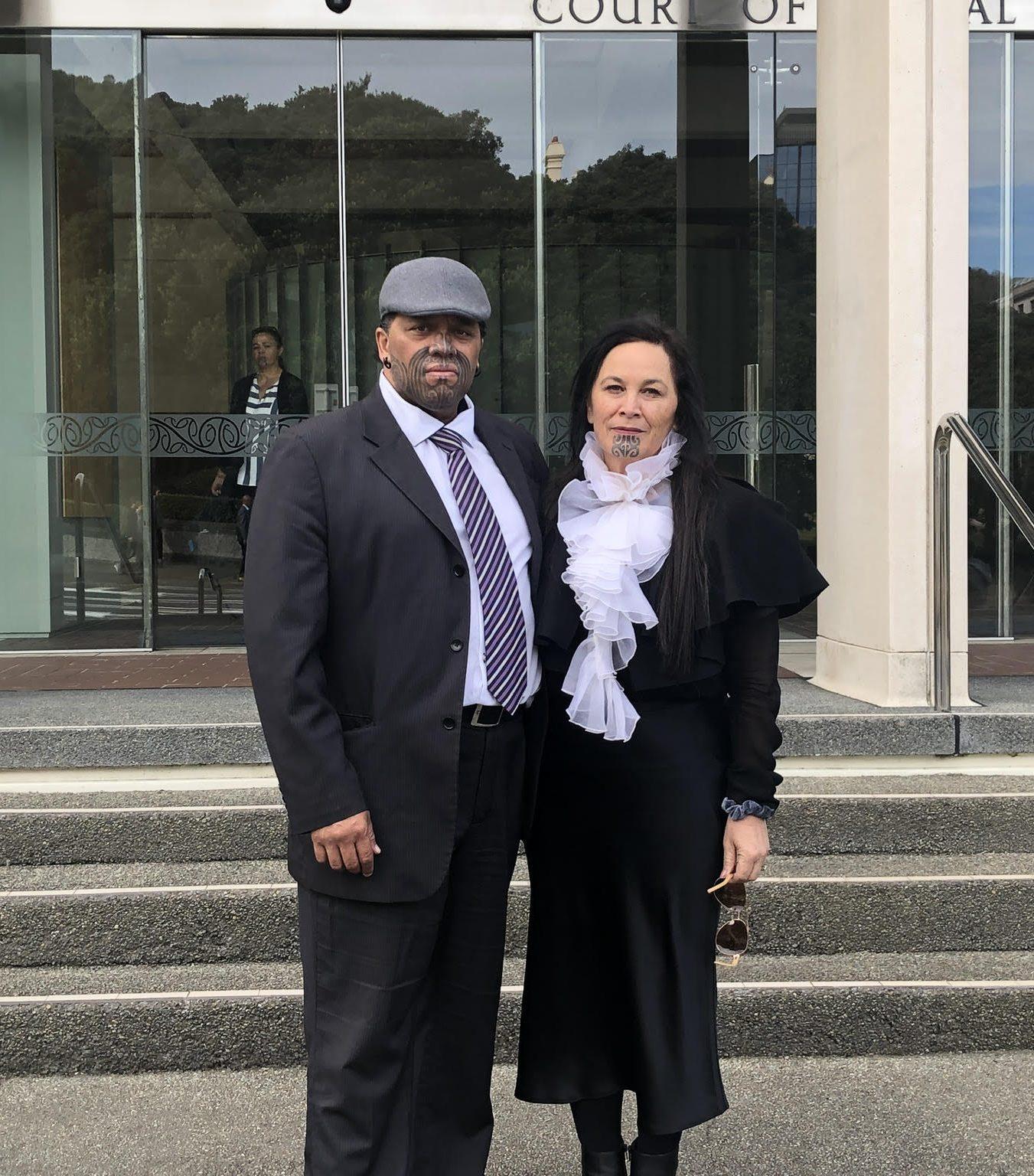 Haimona Maruera, Tumu Whakarae of Te Rūnanga o Ngāti Ruanui, and Debbie Ngarewa-Packer outside the Court of Appeal in Wellington. In April, Ngāti Ruanui won their appeal to stop seabed mining off the South Taranaki coast.