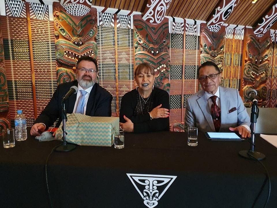 Professor Temara with Justice Williams and Deputy Chief Judge Fox taken at Te Manuka Tutahi Marae, Whakatane in September 2019 at a Symposium on Matauranga Maori in honour of Ta Hirini Mead.
