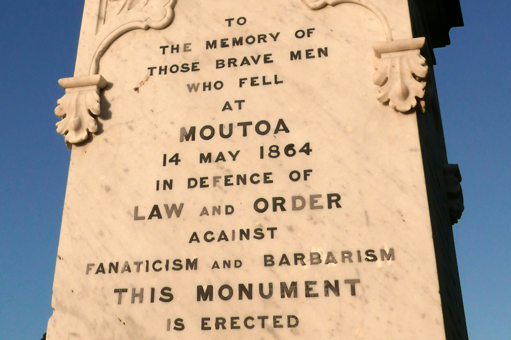 The memorial at Moutoa Gardens, Whanganui commemorates the 'brave men who fell at Moutoa.. against fanaticism and barbarism. Picture: supplied