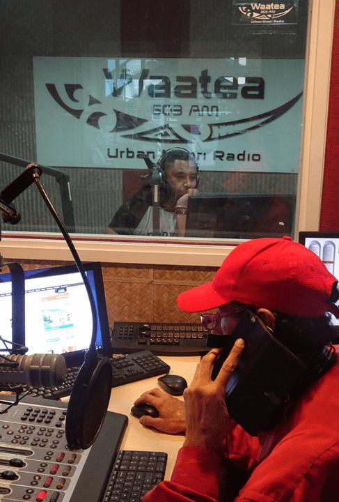 Radio Waatea: Tumano Harawira in Manako studio, Radio Waatea.