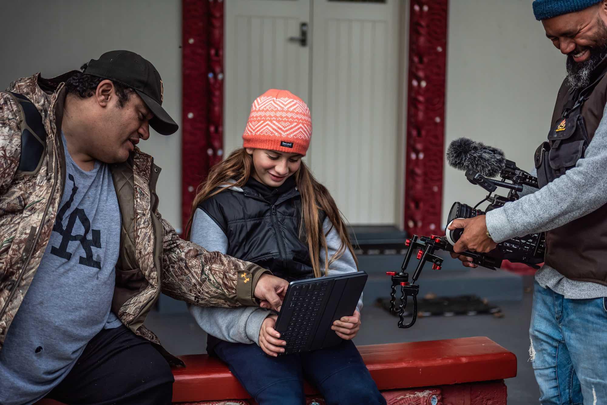 Talent Tihini Grant with Kristin's daughter Hinehui and DOP Rangi Rangitukunoa on the set of Beyond Matariki.