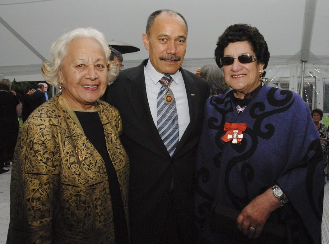 Former Governor-General, Sir Jerry Mateparae pictured with Dame Georgina Kirby (left) and Dame June Mariu (right) in 2013. (Photo: New Zealand Government, Office of the Governor-General)