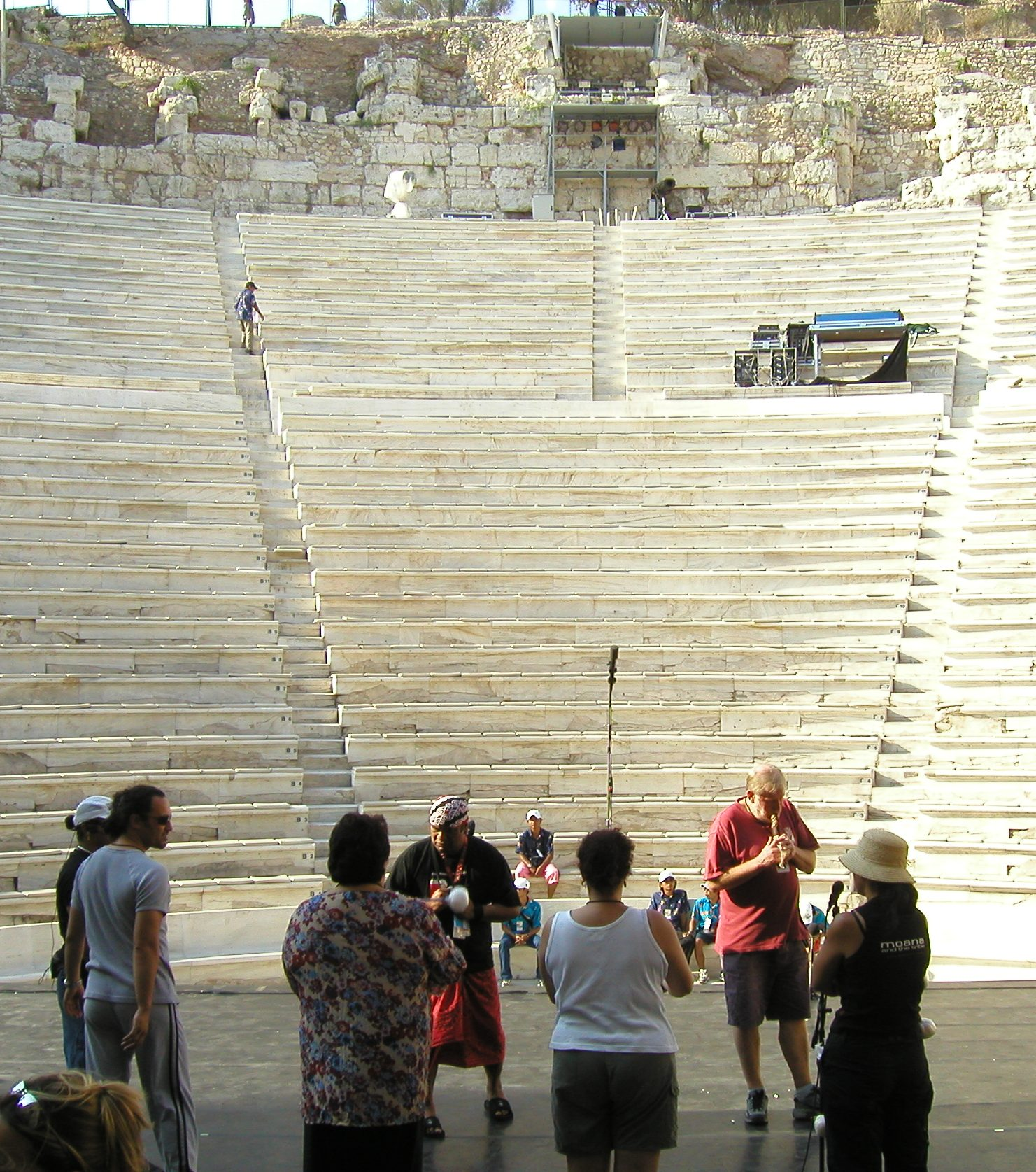Soundcheck at the Odeon of Herodes Atticus, Athens Greece (photo ©2003 Stuart Page)