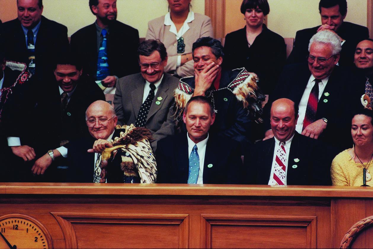 Mark in the gallery of Parliament in 1998 as the Ngāi Tahu Claims Settlement Act is passed. To his right is Tā Tipene O'Regan and to his left is Ngāi Tahu kaumātua Edward Ellison. Te Rūnanga o Ngāi Tahu Collection, Ngāi Tahu Archive, 2017.0261