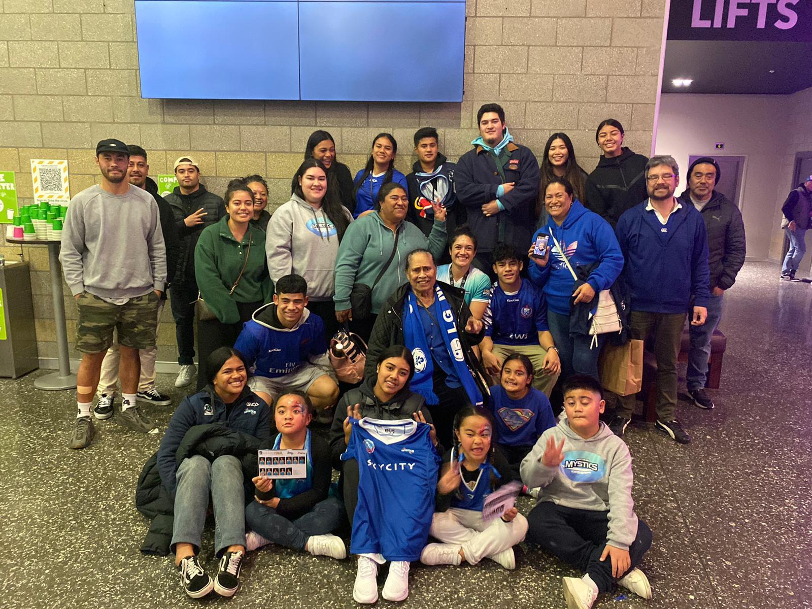 Sulu and family, celebrating her team's win at the 2021 ANZ Premiership grand final at Auckland's Spark Arena in early August. (Photo supplied)