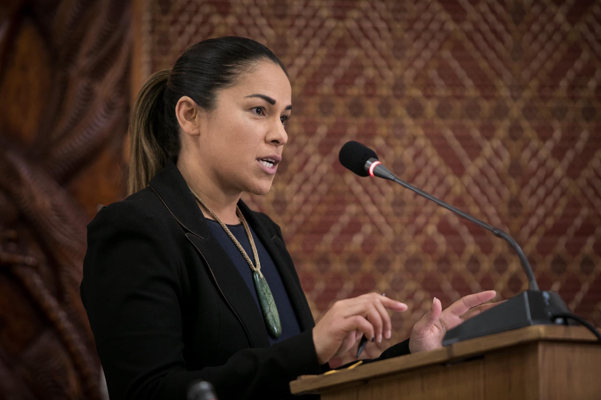 Ko te nohoanga o te Taraipunara o Waitangi mō te take o te Takutai Moana, ki Whitiora Marae, Hepetema 2020 Alana at the Waitangi Tribunal hearing on Takutai Moana at Whitiora Marae, September 2020